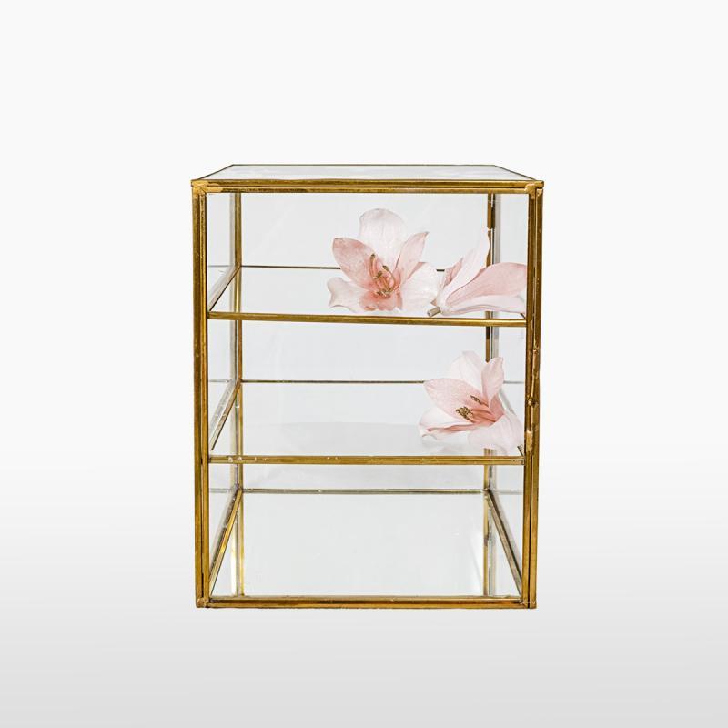 Шкатулка стеклянная трехъярусная GOLD