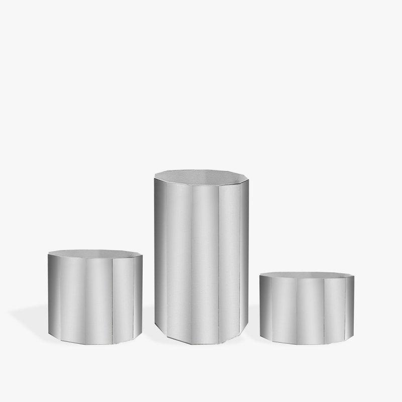 Тумба-цилиндр серебро